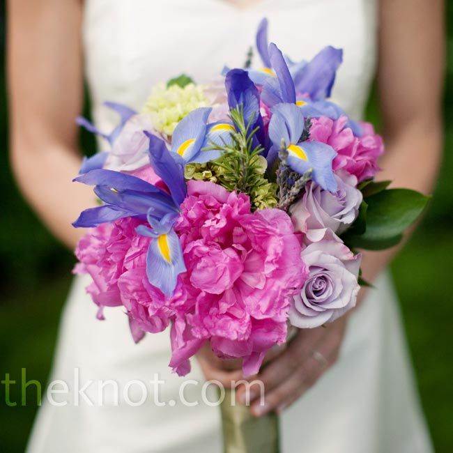 Jen loves irises, so she included purple ones in her bouquet.