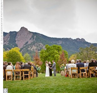 The couple said their vows against breathtaking views of the Flatirons at Chautauqua Park, where they had their first hike together in Boulder.