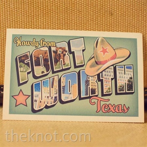 A vintage-inspired Fort Worth postcard (another nod to the travel theme) served as the RSVP card.