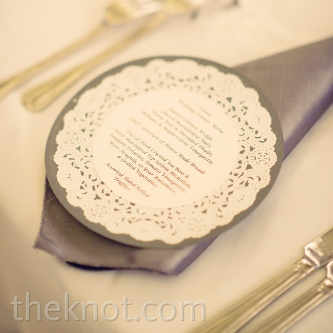 Bryan's project was to cut paper rounds and attach them to doilies and card stock to make these menu cards.