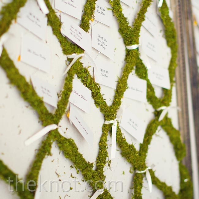 A board decked out in a lattice of greens held the escort cards.
