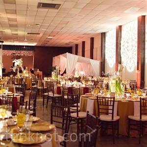 Colorful table linens and patterned gobo lights dressed up the blank space.