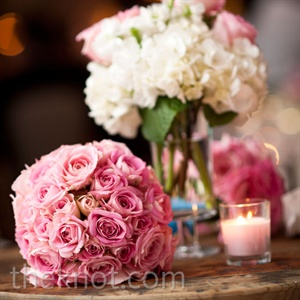 Pink roses and white hydrangeas were included in all the floral arrangements.