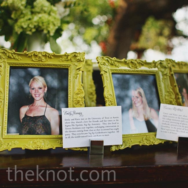 The couple displayed photos and stories of their bridesmaids and groomsmen.