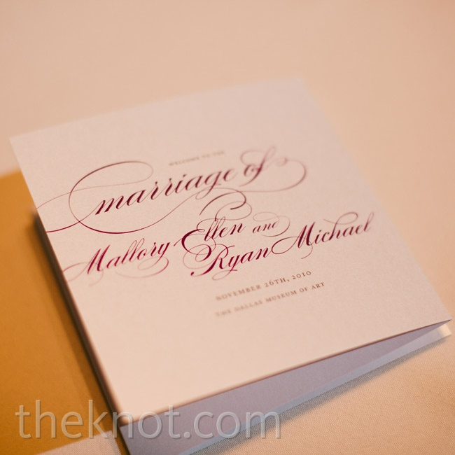 Accordion-fold booklets printed with a cursive font held the ceremony details.