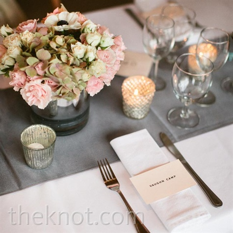 Gray and Pink Table Setting