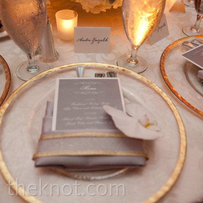 Gold-rimmed chargers and damask-patterned linens exuded a royal vibe.