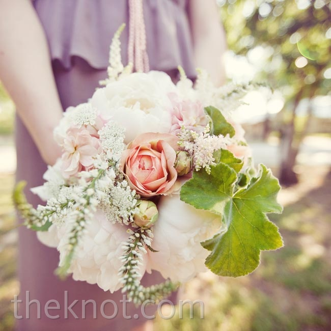 Pink peonies mixed with greenery and veronica had a sweet, garden feel.