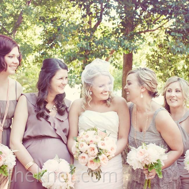 Shawna asked her bridesmaids to each wear a different style of dress in a taupe color for a look that wasn't too formal.