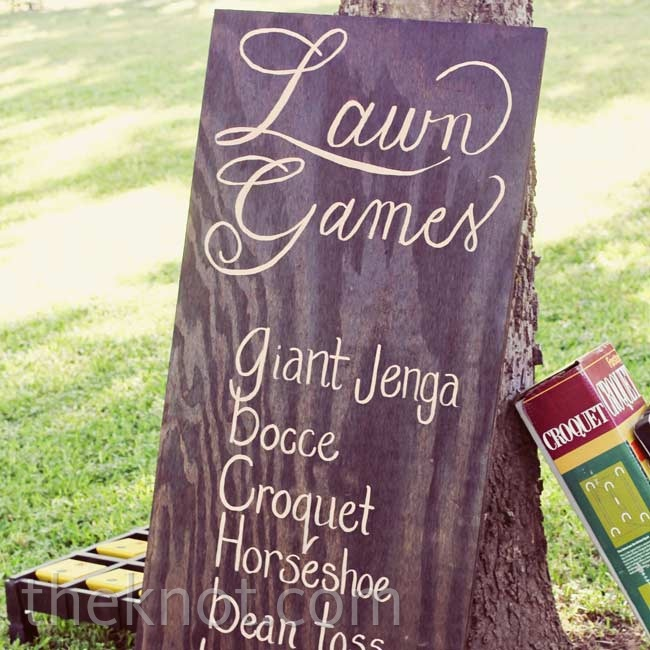 Shawna's dad made a giant jenga set to put out with other lawn games for guests to enjoy.