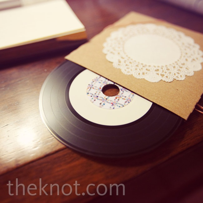Each guest got a mixed CD of love songs that was disguised as a vinyl record.