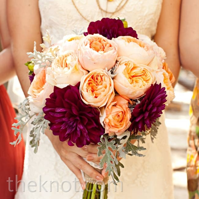 Shelby loved the soft, full look of the garden roses and the texture of the dahlias in her bouquet.