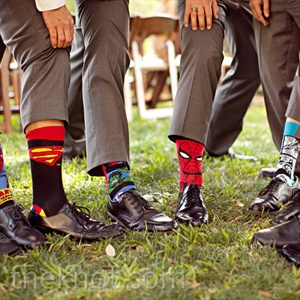 The guys jazzed up their gray suits with superhero socks--a gift from Daniel.