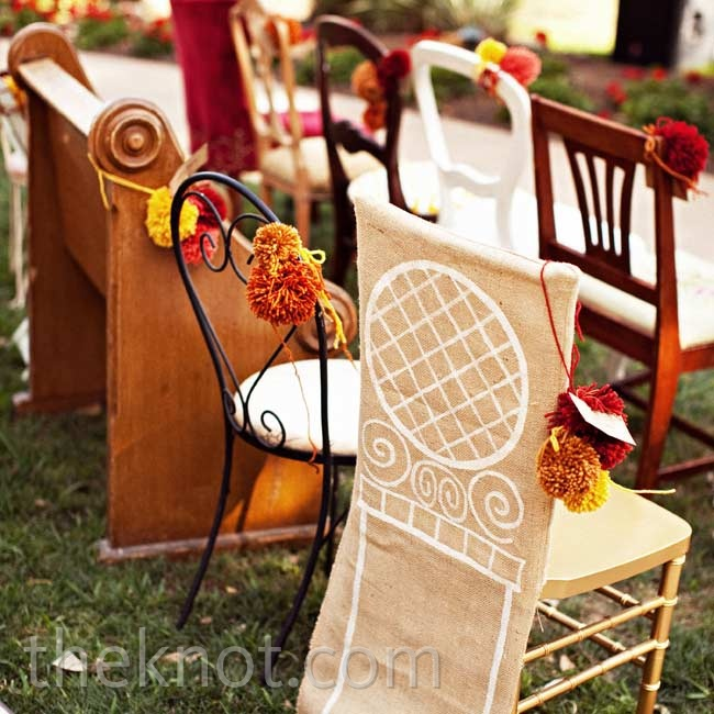 Guests watched the ceremony from a mix of chairs and benches (some collected from the families).