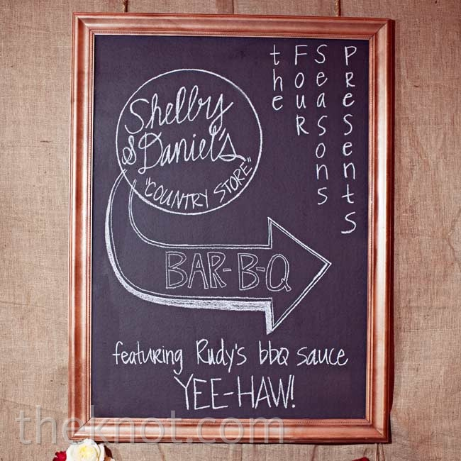 Chalkboard signs hung above the reception food stations, pointing out what was being served.