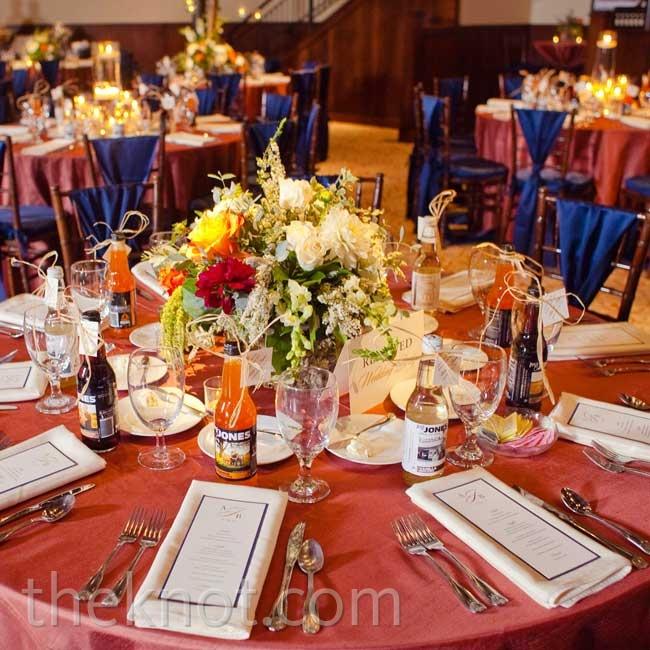 Wild Centerpieces Orange Table Linens And Raffia Tied Jones Soda