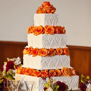Orange Rose Wedding Cake