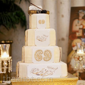 The four-tiered cake was embellished with gold paisley shapes and meaningful poems in Farsi calligraphy.