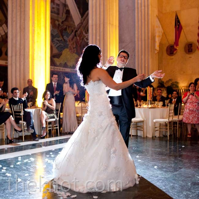 """Rose and Ali started dancing to """"Lucky"""" by Jason Mraz and Colbie Caillat, but switched to an upbeat Iranian wedding song halfway through."""