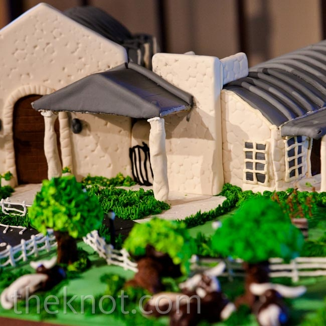 Jorden's cake was an edible replica of Briscoe Manor, their reception venue and where they both work.