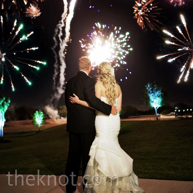 Stephanie and Jorden left as extra-large sparklers were set off.