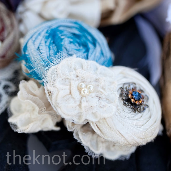 "Jessica wore a garter with silk flowers sewn onto it- her ""something blue."""