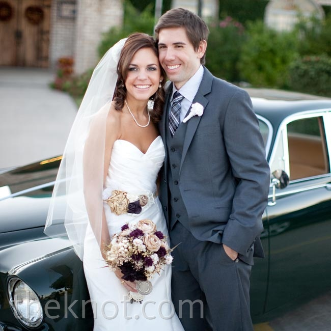 After the reception, the couple raced off in a sleek, black 1967 Jaguar.