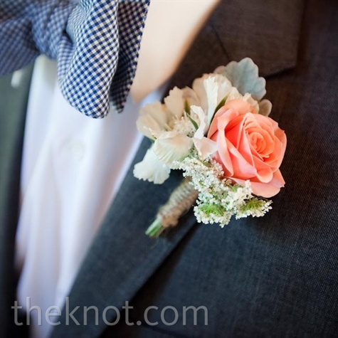 Peach and White Boutonniere