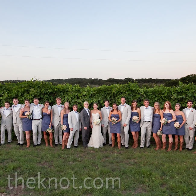 The 22-member wedding party-with the girls in cotton dresses and cowboy boots, and the guys in light suits and bow ties-was casual and comfortable.