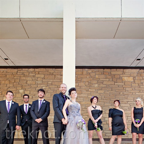 Black and Purple Wedding Party Looks
