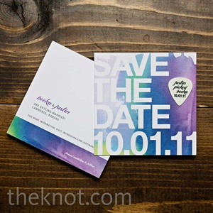 The couple added fun personal touches to their invites, like a handwritten note, a watercolor map and a guitar-pick save-the-date.