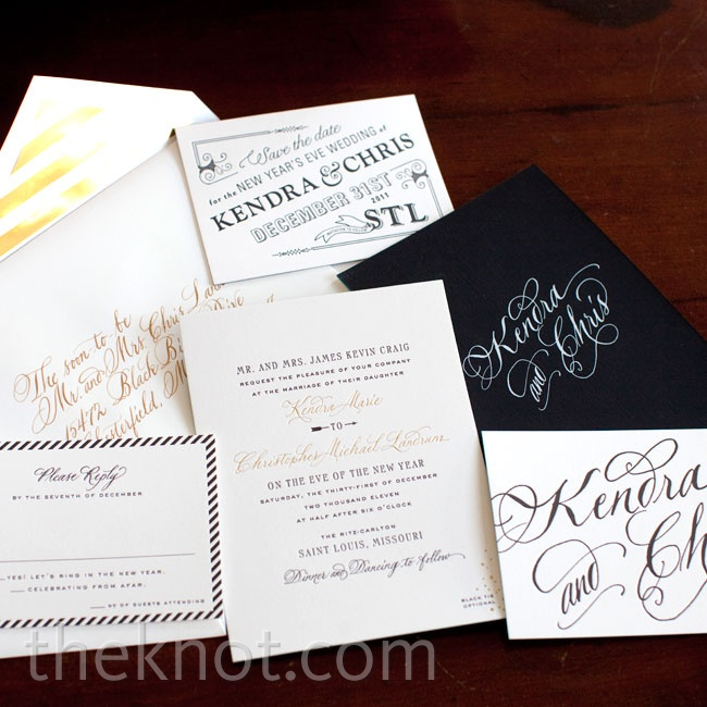 Kendra designed the letterpress invites, which featured classic black-and-white hand calligraphy. A subtle peacock-hued edge and gold-foil-striped envelope lining added hints of whimsy.