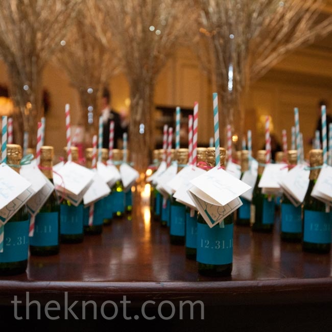 Champagne bottles were labeled with guests' names and doubled as a fan postceremony surprise.