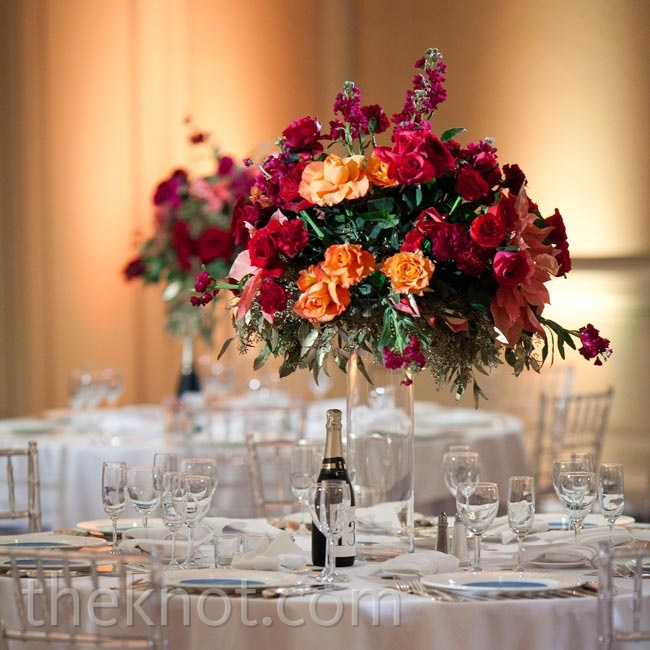 Bold red, orange, and pink blooms packed a vibrant punch in the white space.