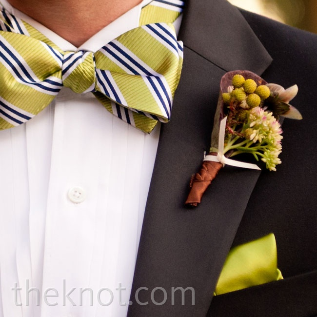 Lance requested that his boutonniere contain at least one flower found in Ann's bouquet.
