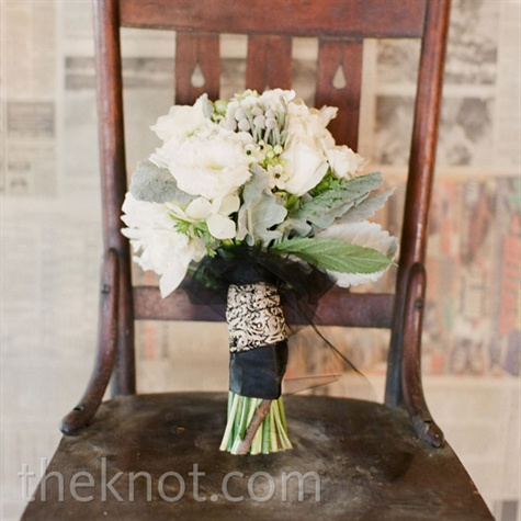 Silver and White Bridal Bouquet
