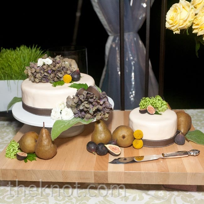 Florals and figs decorated the simple white cake. For a moment away from the party, Alison and Josh cut it in private.