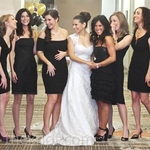 Each bridesmaid wore her own little black dress.
