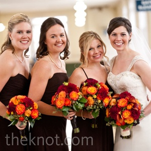 Red and Orange Bridesmaid Bouquets
