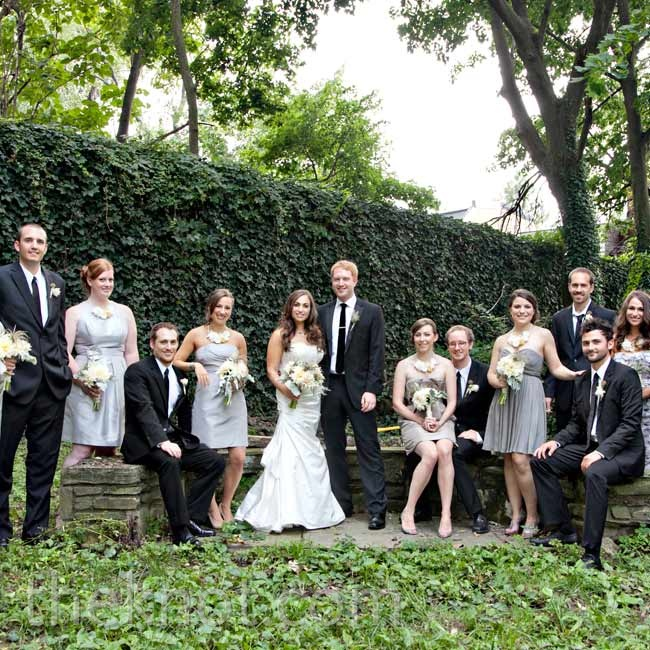 Jess gave her bridesmaids fabric-flower necklaces to complement the dresses of their choosing. The guys went with dark suits and sleek ties for a modern look.