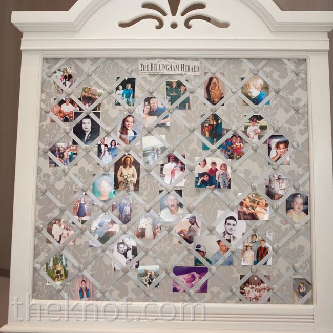 A fabric-covered bulletin board with the couple's childhood memories and family photos was on display for guests.