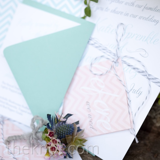 A graphic designer, Katie decided to create the couple's stationery suite herself. She went with a bright chevron design and tied everything together with baker's twine.