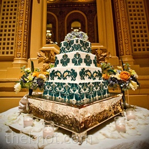 Blue Damask Wedding Cake