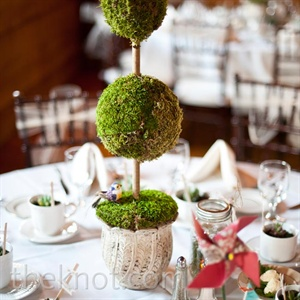 With the help of family and friends, the couple made their own centerpieces, ...