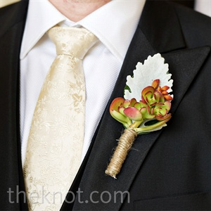 White and Red Boutonniere