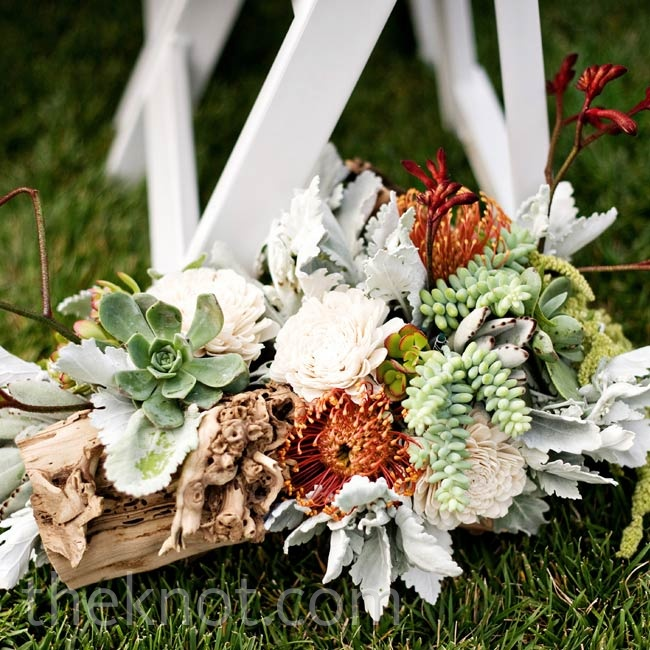Rustic succulent and dusty miller arrangements lined the ceremony aisle.