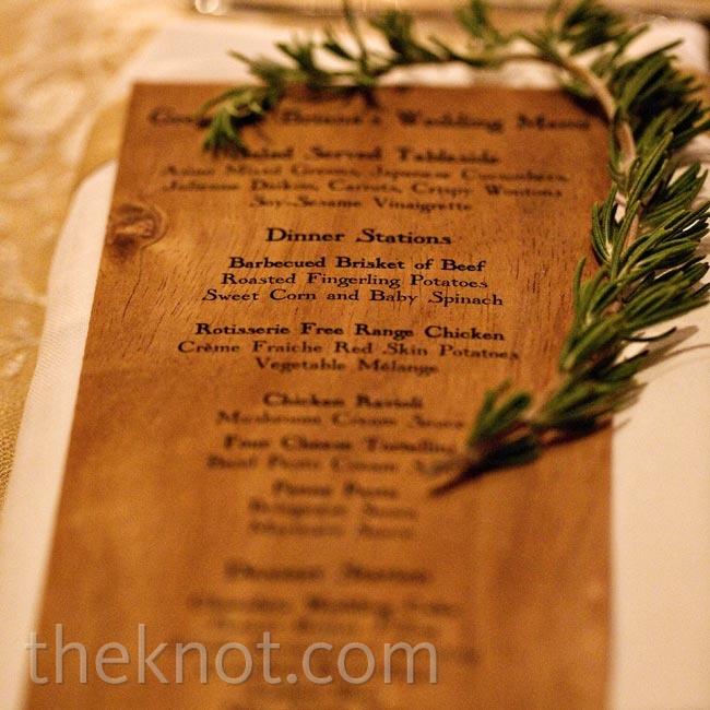 Wooden menu cards detailed the different dinner stations at the reception.