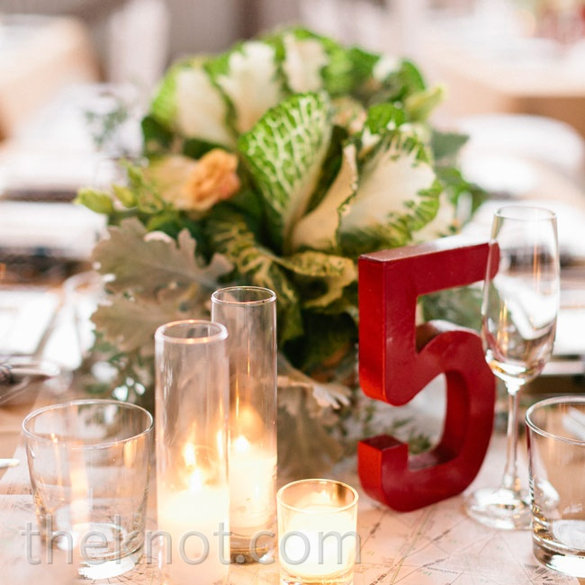 Freestanding red block numbers put a fun spin on minimalist tablescapes.
