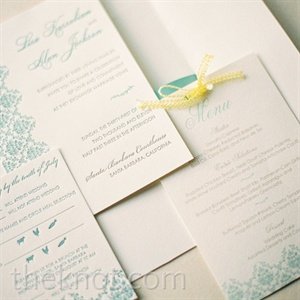 An intricate blue design tied the various pieces of the stationery suite together.