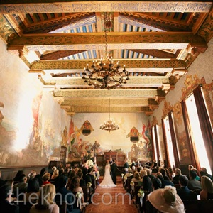 The couple wed in The Mural Room at the Santa Barbara County Courthouse. Because of its ornate detailing, they didn&#39;t need to add much decor.